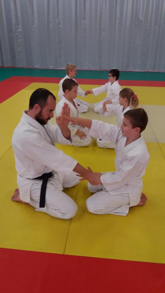 Cours 9 - 13 ans - Etude du kata à genoux, Dojo Wa-Jutsu Villenevois-Novembre 2016